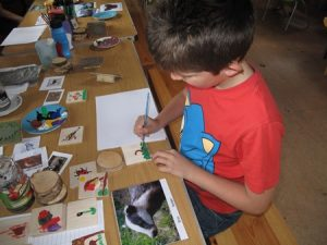 Child painting Wooden Tile